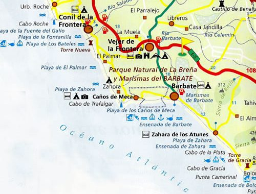 Mapa De La Janda Y Cabo Trafalgar Cabo De Trafalgar Cadiz